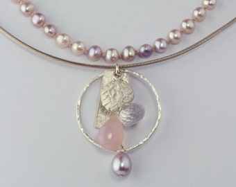 Silver and gem necklaceCluster Chalcedony Quartz Pearl