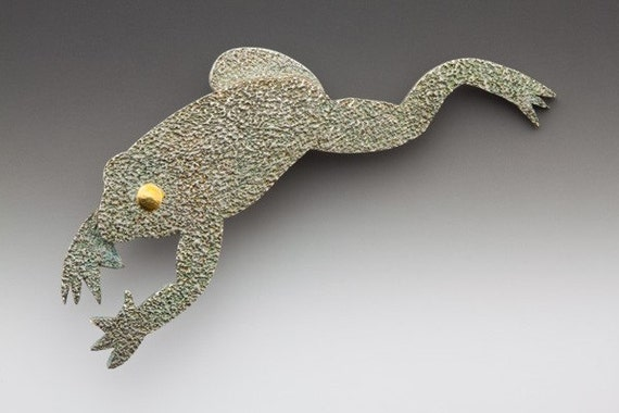 Frog Brooch Fine Silver Gold
