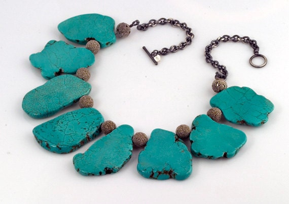 Turquoise Necklace Magnesite  Sterling Slab