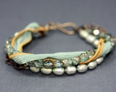 Reserved Listing For FaroeViking - Bracelet in Hushed Teal with Freshwater Pearl, Czech Glass and Silk Ribbon.