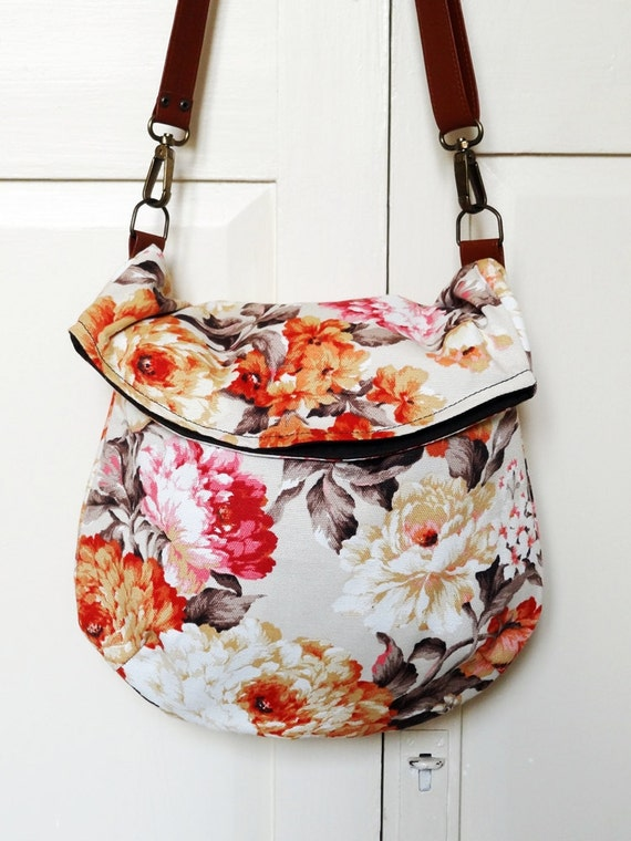 Recycled messenger bag, orange floral curtain, two pockets, adjustable strap