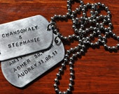 2 Hand Stamped Dog Tags - The Man Tag