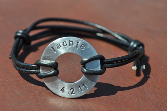 Hand-stamped Men's or Women's Washer Slide Bracelet