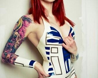 Latex Rubber Star Wars R2D2 Inspired Bodysuit
