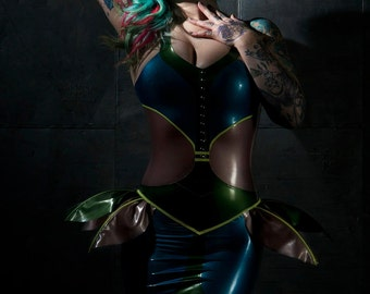 Rubber Latex Beetle Dress with Wings and Optional Spikes