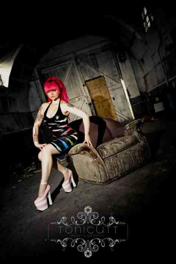 Latex Rubber Multi Coloured Zebra Applique Pencil Dress