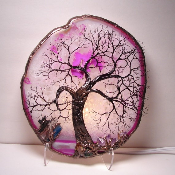 Pink Brazil Geode Agate Slice Wire Tree Of Life Ancient Spirit