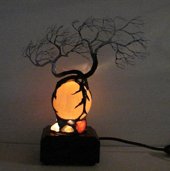 Wire Tree Of Life Duo Wind Spirits sculpture Orange Selenite Full Moon Sphere Gemstones Lamp, original art  FREE SHIPPING  LP1