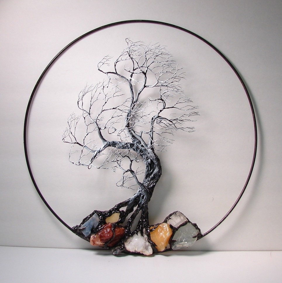 wire tree of life black and white wind spirit sculpture with