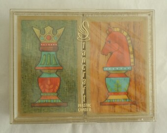 Vintage Mid Century Stancraft  Double Deck Playing Cards Chess Design Unopened