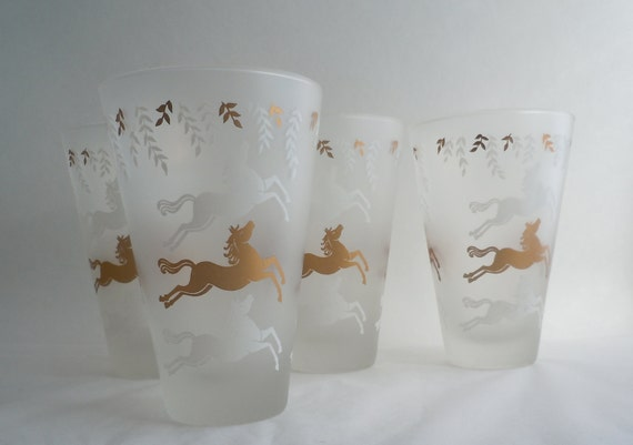 Four Libbey Frosted Glass Cavalcade Leaping Horses 14oz Tumblers