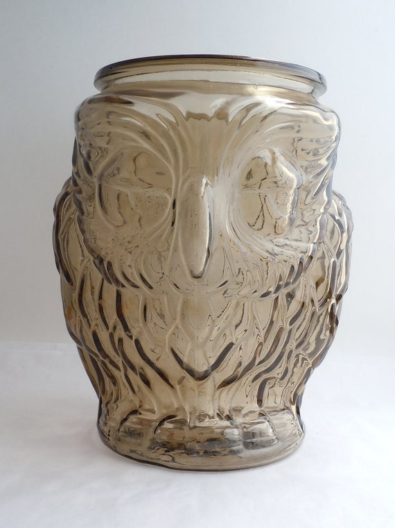 Fun Vintage Smokey Glass Owl Canister Cookie Jar No Lid