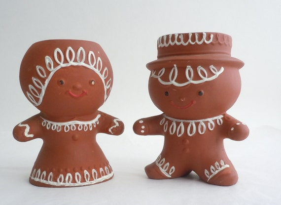 Cute Vintage Holiday Gingerbread Couple Candle Holders