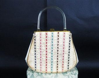 Vintage 1950s Clear Plastic Handbag -50s Straw Glitter Lucite Purse - Garay Tan Vinyl Bag