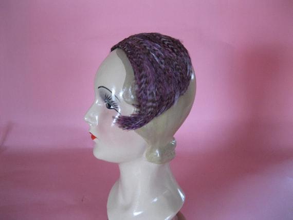 1950s Hat // 50s Feather Headband Style // Purple Brown Grey // Mid Century Designer