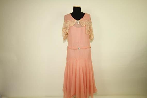 1920s Dress // 20s Pink Chiffon Lace Flapper // Boardwalk Empire // Great Gatsby Sz.S