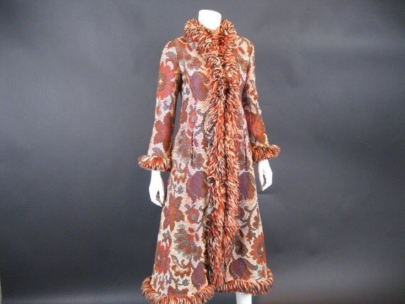 Vintage LATE 1960's - Early 1970's Tapestry Coat // Muli-Colored // Boho // Rock Star // S