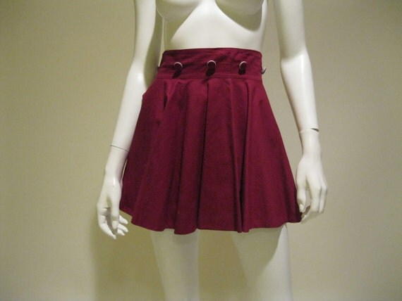 Vintage1960s Skating Skirt // Wine and Grey Cotton // Mini Circle Skirt // S