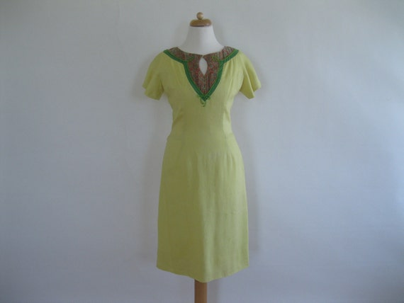 Sale Vintage 1960s Dress - Oleg Cassini Yellow  Sheath -  S