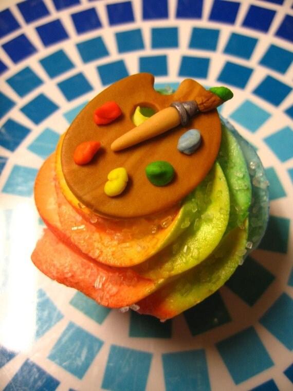 Fondant Cupcake Toppers Artist Palette