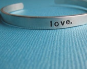 Hand Stamped Bracelet Skinny Cuff Personalized Custom Love by TheCopperFox