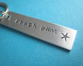 Beach Bum Hand Stamped Keychain by TheCopperFox