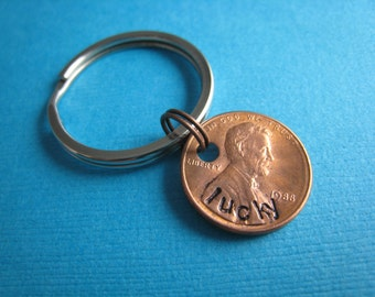 Lucky Penny Keychain Hand Stamped Penny Keychain by TheCopperFox