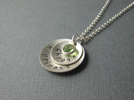 Choose Happiness Sterling Silver Hand Stamped Necklace Mommy Jewelry Swarovski Birthstone Crystal by CandidGrace