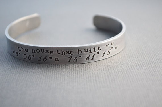 Latitude and Longitude The House That Built Me Cuff Bracelet by TheCopperFox