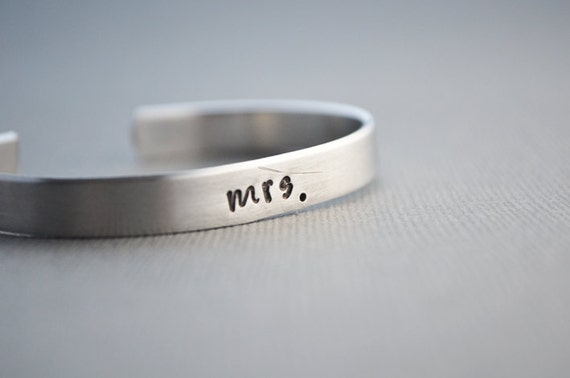 Mrs Newlywed Cuff Bracelet Aluminum by TheCopperFox