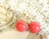 Pink Classic big Coral pearls - Gold field earrings & real Majorca perfect Coral round pearls