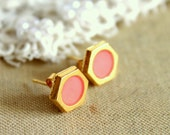 Peach gold stud  earring -petit elegant 14k gold coated post earrings