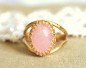 Audreys crowen in pink - stunning elegant 14K GF ring with real Rose quartz gemstone