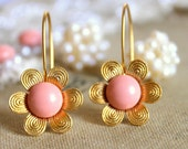 Pink and gold flower earrings - 14k gold plated earrings with real pink swarovski pearls .