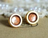 Pure gold stud earring -petit elegant 14k gold coated post earrings .