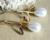 Pearls and gold earrings - real gold field earrings with Majorica perfect white pearls