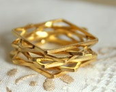Gold Stack  rings -  geometric 7 rings plated 18k gold matte finish