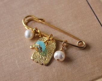 Something blue bridal good luck pin