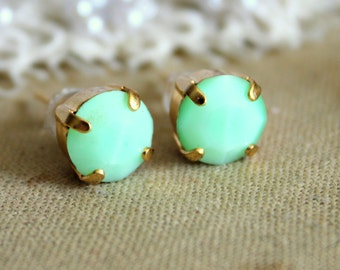 Mint stud gold earrings - 14k gold plated earrings with real mint faceted swarovski rhinestone