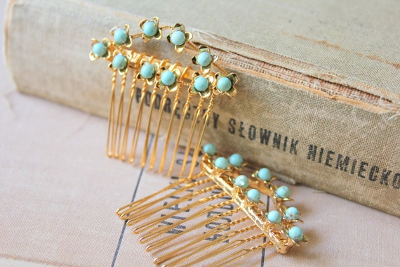Bridal hair comb  Victorian shabby chic vintage style with real Turquoise