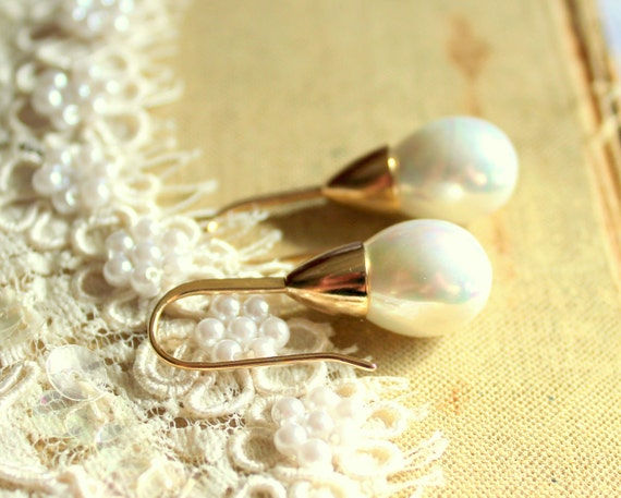 Pearls and gold earrings - real Majorica perfect white pearls