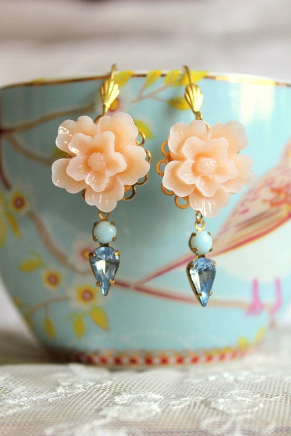 Peach aqua and blue  Earrings shabby chic vintage style