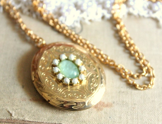 Gold locket necklace mint and pearls vintage style .