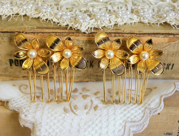 Ella  2 hair comb - Gold flowers and pearls set of  2 Victorian shabby chic vintage style with Swarovski elegant pearls .