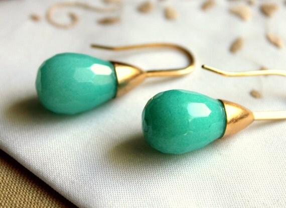 Jade earrings - real jade gemstone with goldfield earrings