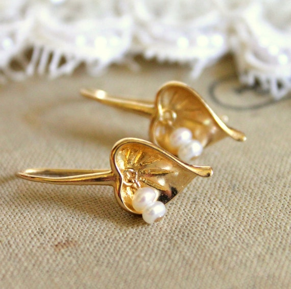 Golden heart  earrings - real gold fil earrings with freshwater  pearls