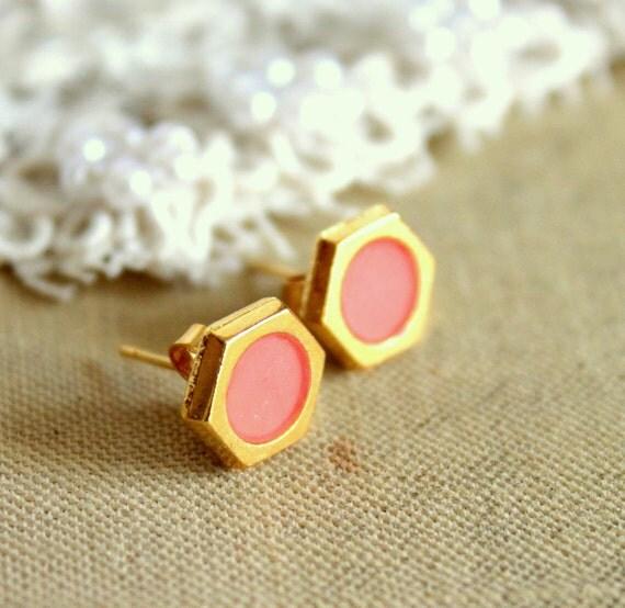 Peach gold stud  earring -petit elegant 14k gold coated post earrings