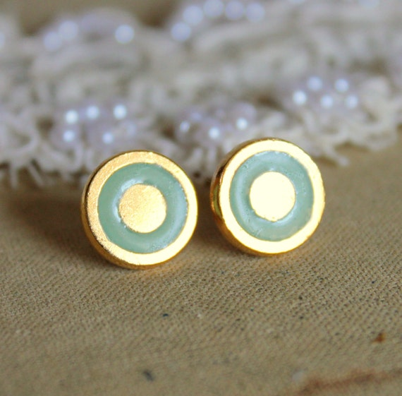 Mint gold stud  earring -petit elegant 14k gold coated post earrings