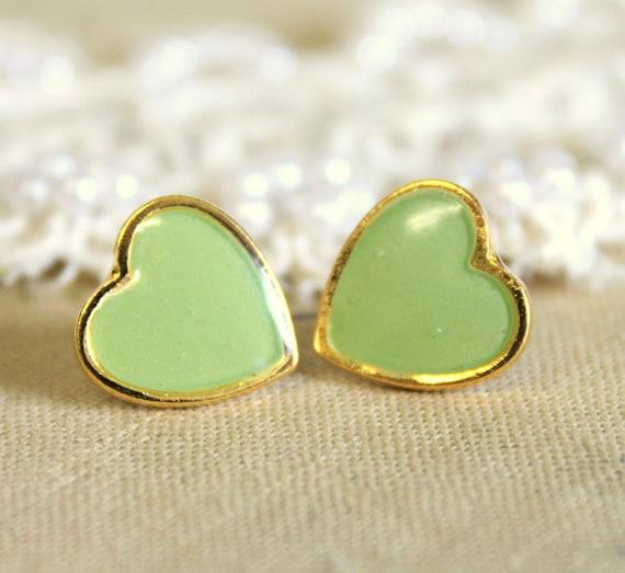 Minty seafoam  Heart gold stud  earring -petit elegant 14k gold coated post earrings