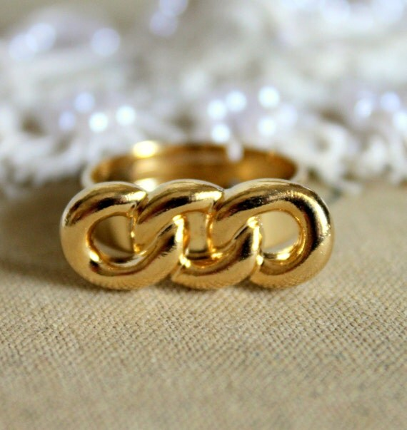 Gold links ring -adjustable ring plated 14k gold